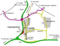 Map of Tongham Wood and surrounding area. Click for further information
